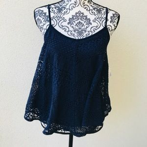 ⭐️ Design Lab navy lace summer top NWT SP
